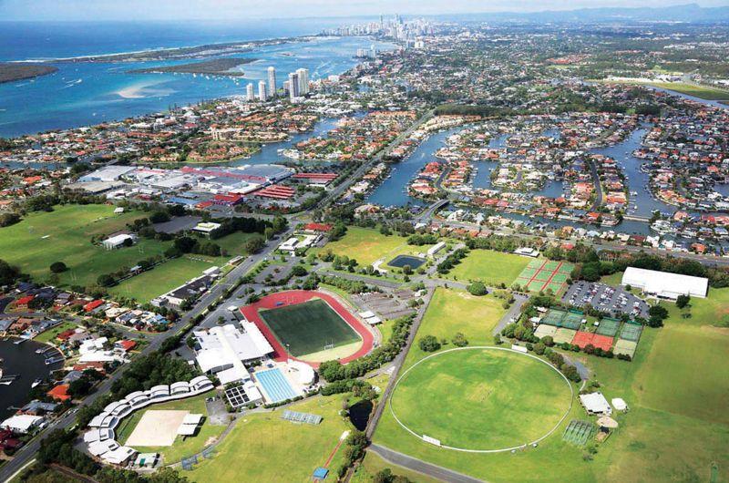 Runaway Bay view overlooking sporting facilities